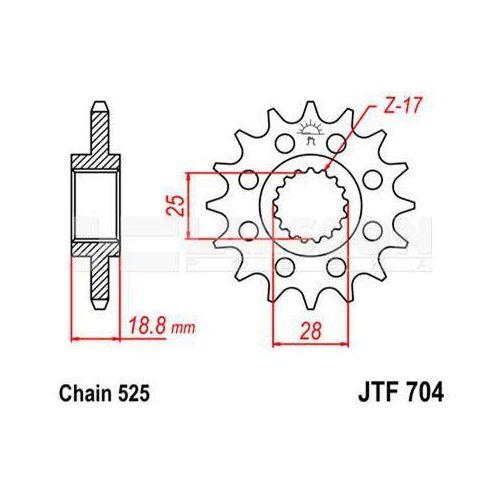 Jt sprockets Zębatka przednia jt f704-17, 17z, rozmiar 525 2200777 aprilia rsv 1000, etv 1000