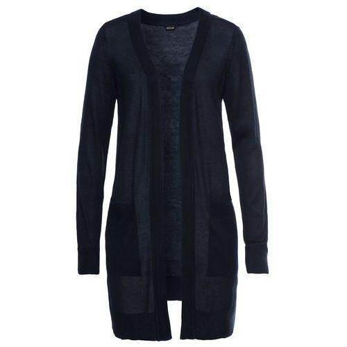 Bonprix Długi sweter bez zapięcia ciemnoniebieski
