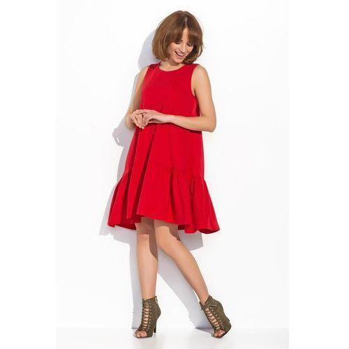 Czerwona Kobieca Rozkloszowana Sukienka bez Rękawów, DNU5re
