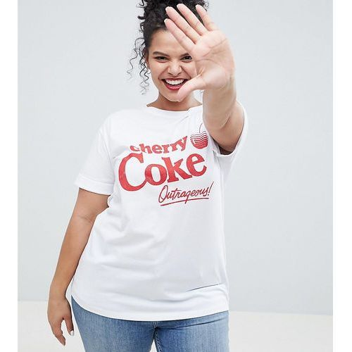 Asos curve Asos design curve t-shirt with cherry coke print in white - white
