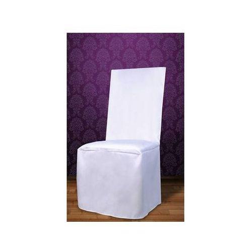 Pokrowiec na krzesło z satyny - biały - ślub - 1 szt. (5901157423054)