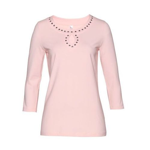 773485518978cd Shirt z ćwiekami bonprix pastelowy jasnoróżowy, kolor różowy 54,99 zł  swobodniejszy fason z ozdobnymi ćwiekami w dekolcie. Dł. Od ok. 64 cm w  rozm.