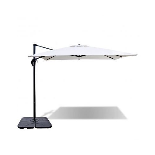 Biały parasol ogrodowy ROMA z aluminiową ramą i przenośną podstawą 2,5 x 2,5 m, produkt marki vidaXL