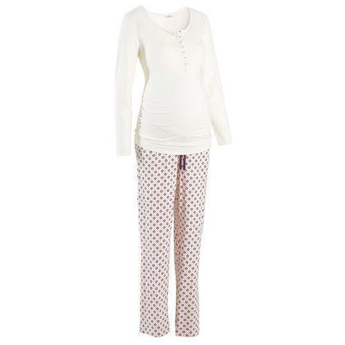 Piżama dla karmiących bonprix ecru z nadrukiem, w 8 rozmiarach