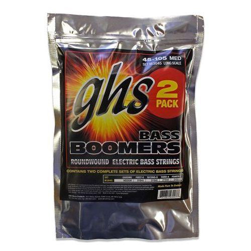 bass boomers struny do gitary basowej 4-str. medium,.045-.105, 2-pack marki Ghs