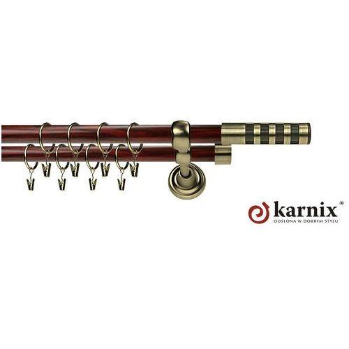 Karnisz Metalowy Prestige podwójny 16/16mm Dakota Premium Antyk mosiądz - mahoń - oferta [359f407bc72594d8]