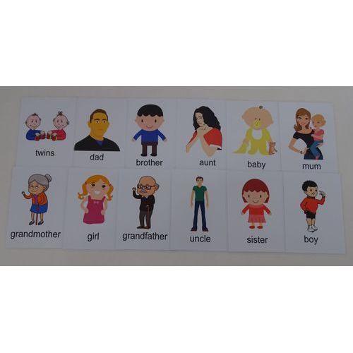 Ludzie / rodzina karty edukacyjne - wersja w j. angielskim