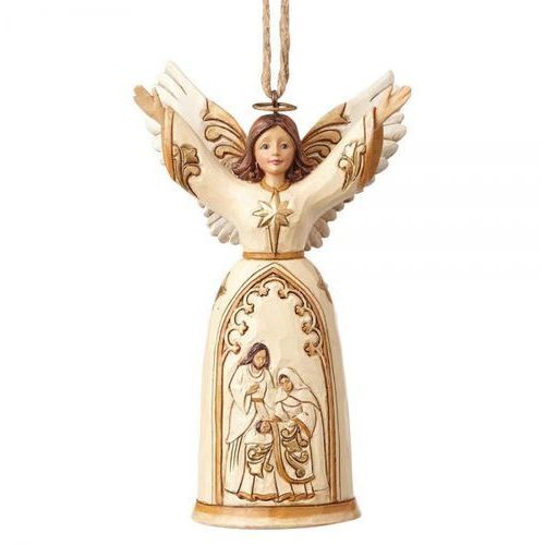 Anioł święta rodzina ivory and gold nativity angel (hanging ornament) 4058836 figurka ozdoba świąteczna marki Jim shore