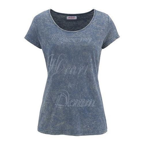 Shirt z nadrukiem, krótki rękaw  indygo marki Bonprix
