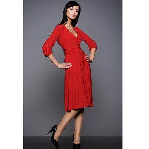 Gustowna sukienka z rękawem 3/4 czerwona s01 marki Nife