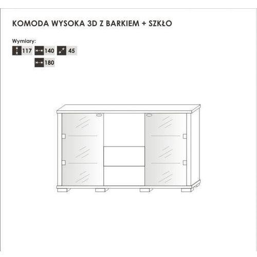 Meble largo Komoda wysoka 3d z barkiem + szkło 180 kolekcja walenty połysk
