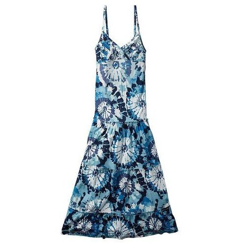 Długa sukienka bonprix niebiesko-biały z nadrukiem (sukienka dziecięca)