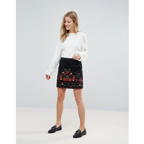 New Look Embroidered Faux Suede Mini Skirt - Black