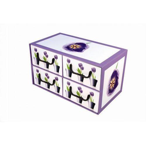 Miss space Pudełko kartonowe 4 szuflady poziome doniczki-tulipany