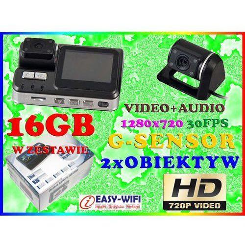 KAMERA SAMOCHODOWA HD720 DET RUCHU Z KAMERĄ COFANIA + KARTA KINGSTON 16GB, Sklep Easy-WiFi