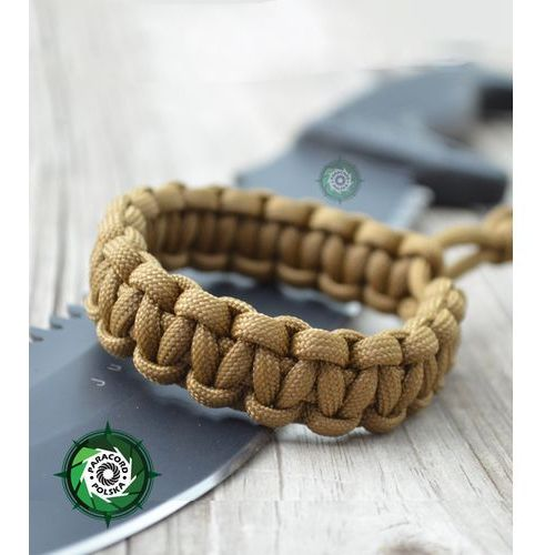 "Bransoleta survivalowa z paracordu regulowana typ ""mad max"" kolor: ""coyote brown"". marki Paracord polska"