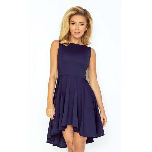 7c103e5da5 Numoco Granatowa sukienka elegancka mocno rozkloszowana z wydłużonym tyłem  149