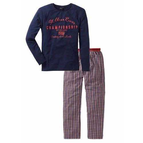 Piżama ze spodniami z tkaniny bonprix niebiesko-biało-pomarańczowy wzorzysty, 1 rozmiar