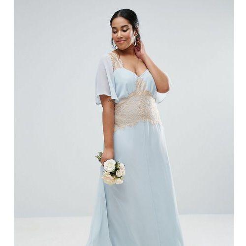 wedding contrast lace panel maxi dress - blue marki Asos curve