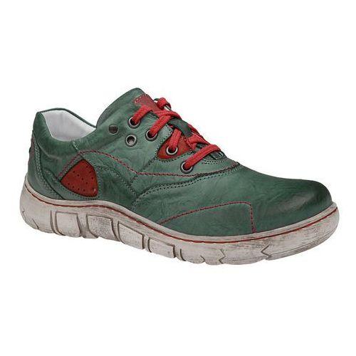 Półbuty KACPER 2-1185-417+416 Zielone damskie, kolor zielony
