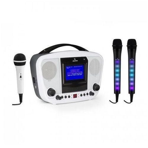 KaraBanga + Dazzl zestaw do karaoke z mikrofonami Bluetooth wyświetlacz TFT