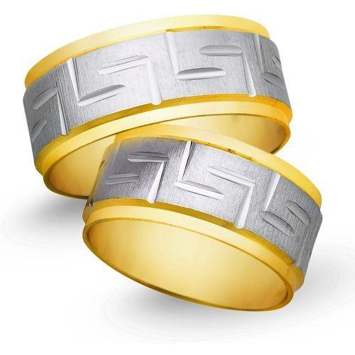 Obrączki z żółtego i białego złota 9mm - O2K/017 - produkt dostępny w Świat Złota