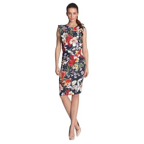 Sukienka ołówkowa z falbanami - kwiaty/granat - S117, kolor niebieski