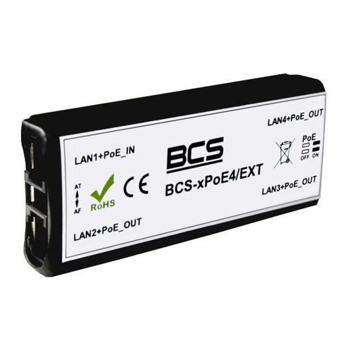 BCS-xPoE4/EXT Switch 4 portowy niezarządzalny PoE dedykowany do systemów CCTV IP, BCS-xPoE4/EXT