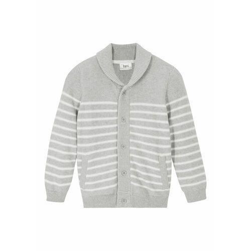 Sweter bawełniany w prążek jeżynowy, Bonprix