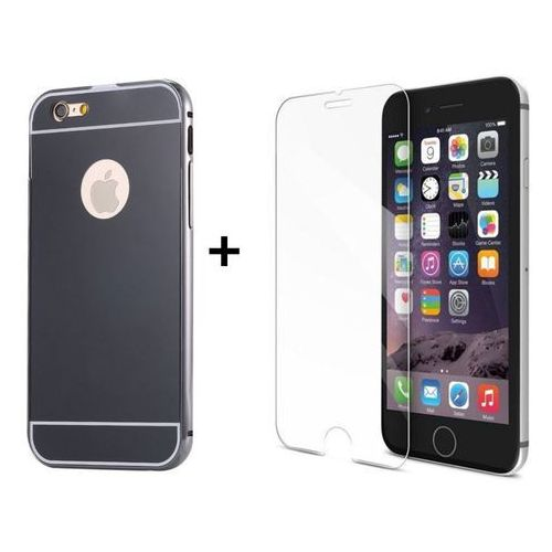 Zestaw | Mirror Bumper Metal Case Szary + Szkło ochronne Perfect Glass | Etui dla Apple iPhone 6 / 6S, kolor szary