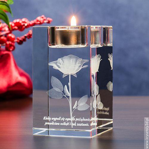 RÓŻA 3D Namietności ♥ personalizowany świecznik • GRAWER 3D