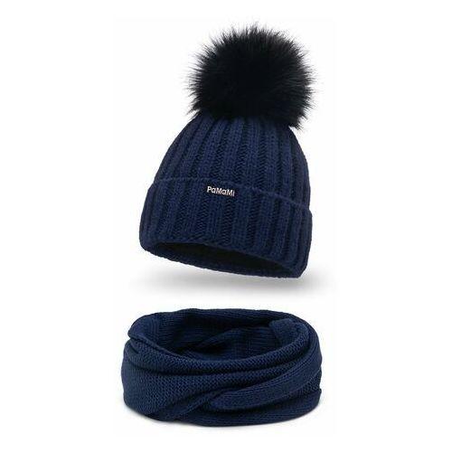 Pamami Zimowy komplet damski- czapka i komin - granatowy