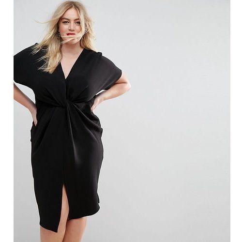 twist knot textured kimono midi dress - black marki Asos curve