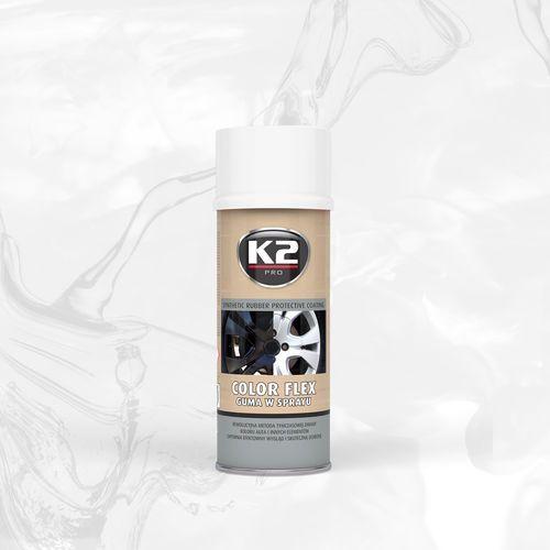 K2 Color flex guma w sprayu - biała syntetyczna powłoka gumowa w sprayu