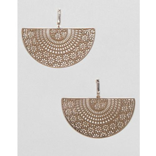 ASOS DESIGN earrings with filigree half disc in gold - Gold