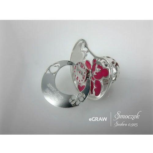 Smoczek srebrny różowy grawer tabliczka na chrzest - smoczek srebrny 925 z różowym marki Alechrzest.pl
