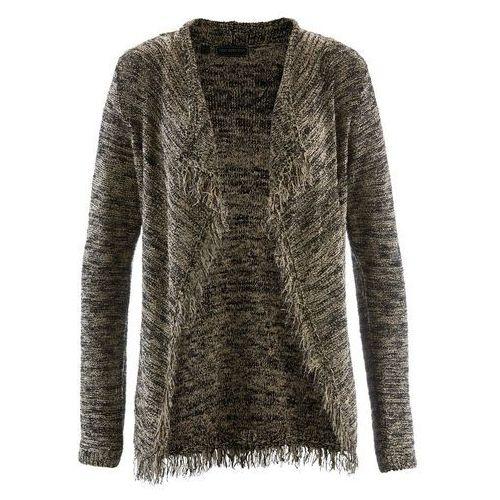 Sweter rozpinany z błyszczącą nitką brunatno-czarno-złoty marki Bonprix
