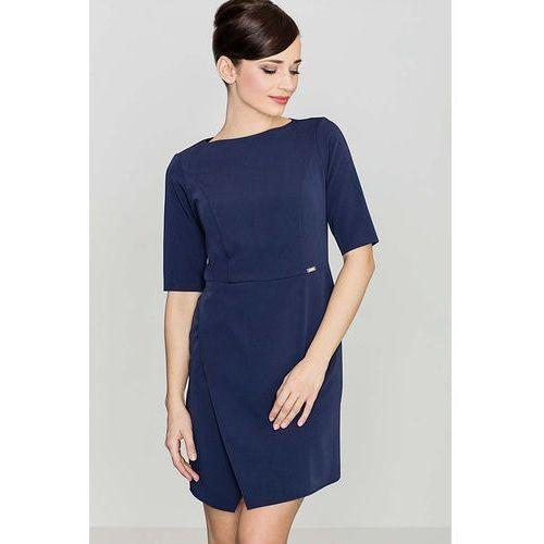 8dabaf5f19 Niebieska elegancka sukienka z asymetrycznym rozporkiem