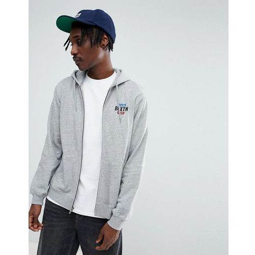 Brixton Garth Zip Through Hoodie With Logo - Grey, kolor szary