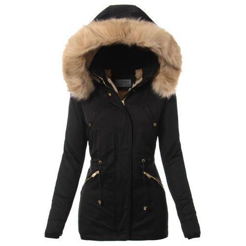 Damska kurtka parka zimowa w kolorze czarnym, kolor czarny