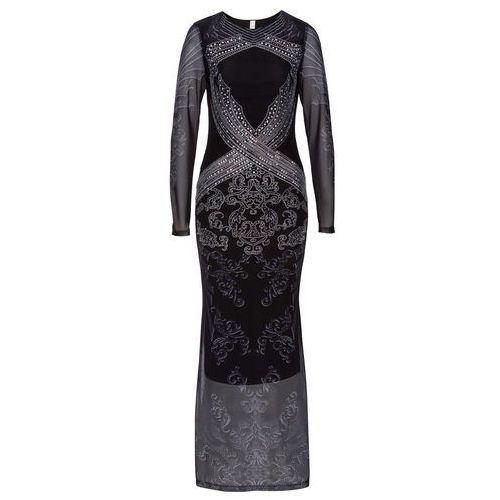 ce7ea1a60a Bonprix Sukienka z połyskującymi kamieniami czarno-srebrny z nadrukiem  89