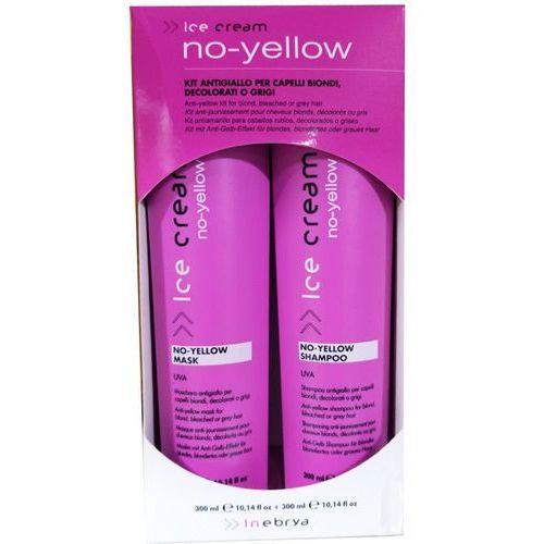 Inebrya No-Yellow Zestaw niwelujący żółty odcień włosów blond | Szampon 300ml + Maska 300ml