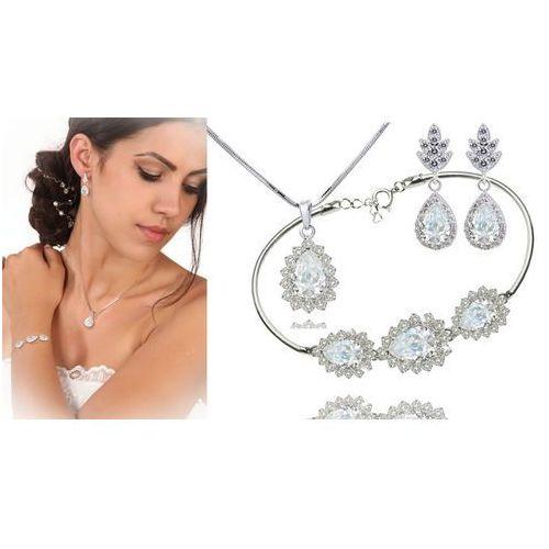 Kpl887 komplet ślubny, biżuteria ślubna z cyrkoniami b599/812 k805/5 n599/814 marki Mak-biżuteria