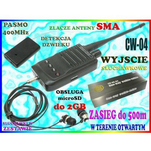 MINI PODSŁUCH RADIOWY AKTYWACJA GŁOSEM VOX CW-04 NAGRYWANIE na kartę microSD 400MHz TRANSMITER PLUSKWA Z BEZPRZEWODOWYM MIKROFONEM do 500m, Sklep Easy-WiFi