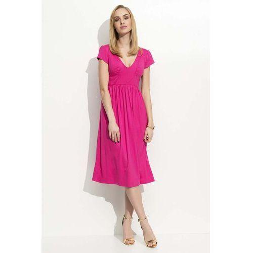Fuksja Sukienka Midi z Marszczeniami, kolor różowy