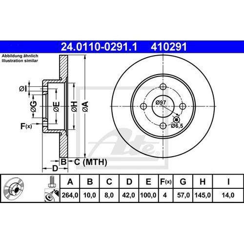TARCZA HAM ATE 24.0110-0291.1 OPEL ASTRA H TWIN SPORT 1.6 06-, 1.8 05-, MERIVA 1.3CDTI 05-, 1.6 06-, 1.7DTI 03-, ATE 24.0110-0291.1