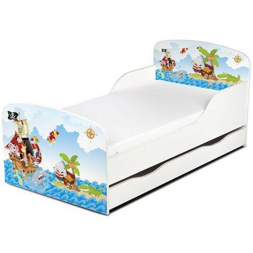 Białe łóżko dla dzieci z materacem i szufladą. Piraci - oferta [5599ed0c1102746f]