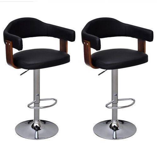 Vidaxl 2 stołki barowe z drewnianą ramą, regulowana wysokość