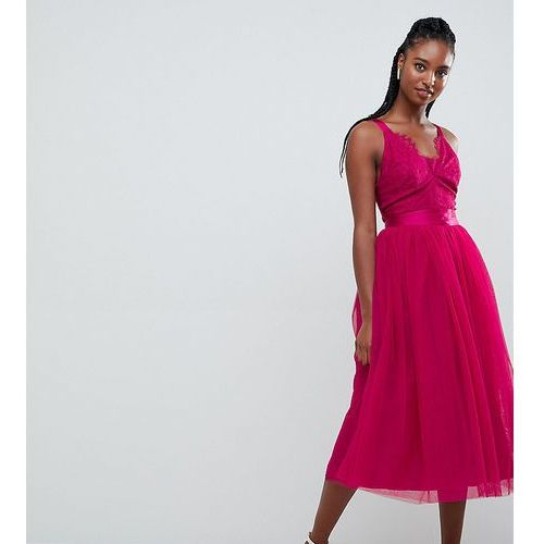 ASOS DESIGN TALL Lace Top Tulle Midi Prom Dress with Ribbon Ties - Pink, kolor różowy