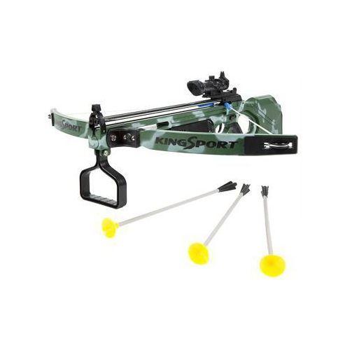 Duża (dł. 67cm!) kusza sportowa dla dzieci.... z celownikiem laserowym + 3 strzały. marki King sport